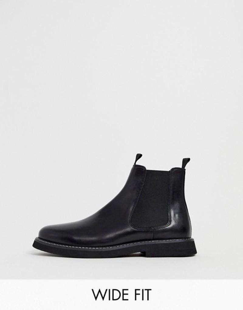 エイソス メンズ ブーツ・レインブーツ シューズ ASOS DESIGN Wide Fit chelsea boots in black leather with chunky sole Black