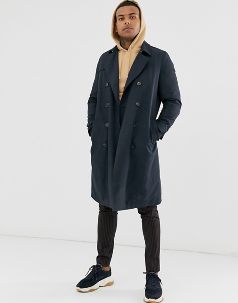 エイソス メンズ コート アウター ASOS DESIGN double breasted trench with quilted lining Navy