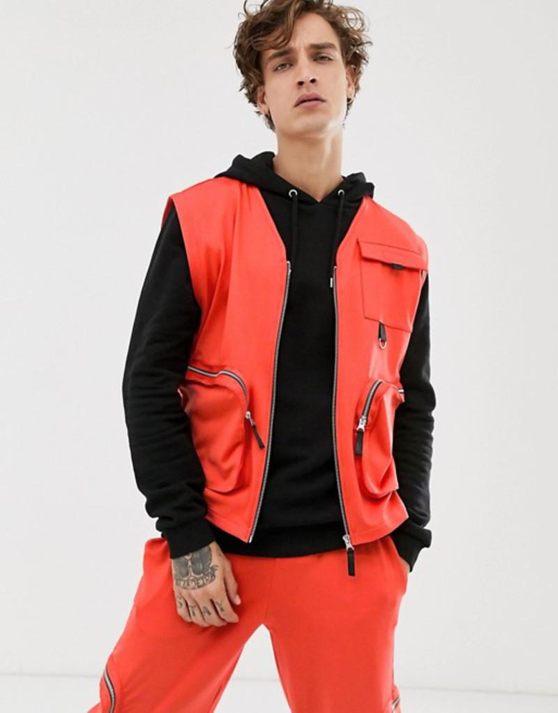 エイソス メンズ ジャケット・ブルゾン アウター ASOS DESIGN two-piece sleeveless utility top in poly tricot with pockets in orange Orange