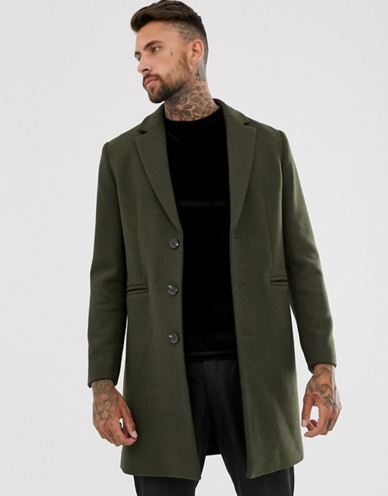 エイソス メンズ コート アウター ASOS DESIGN wool mix overcoat in khaki Khaki