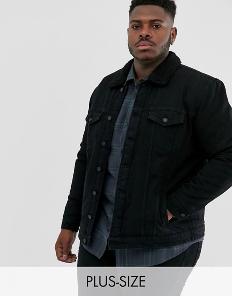 オンリーアンドサンズ メンズ ジャケット・ブルゾン アウター Only & Sons fleece lined denim jacket in black Black denim
