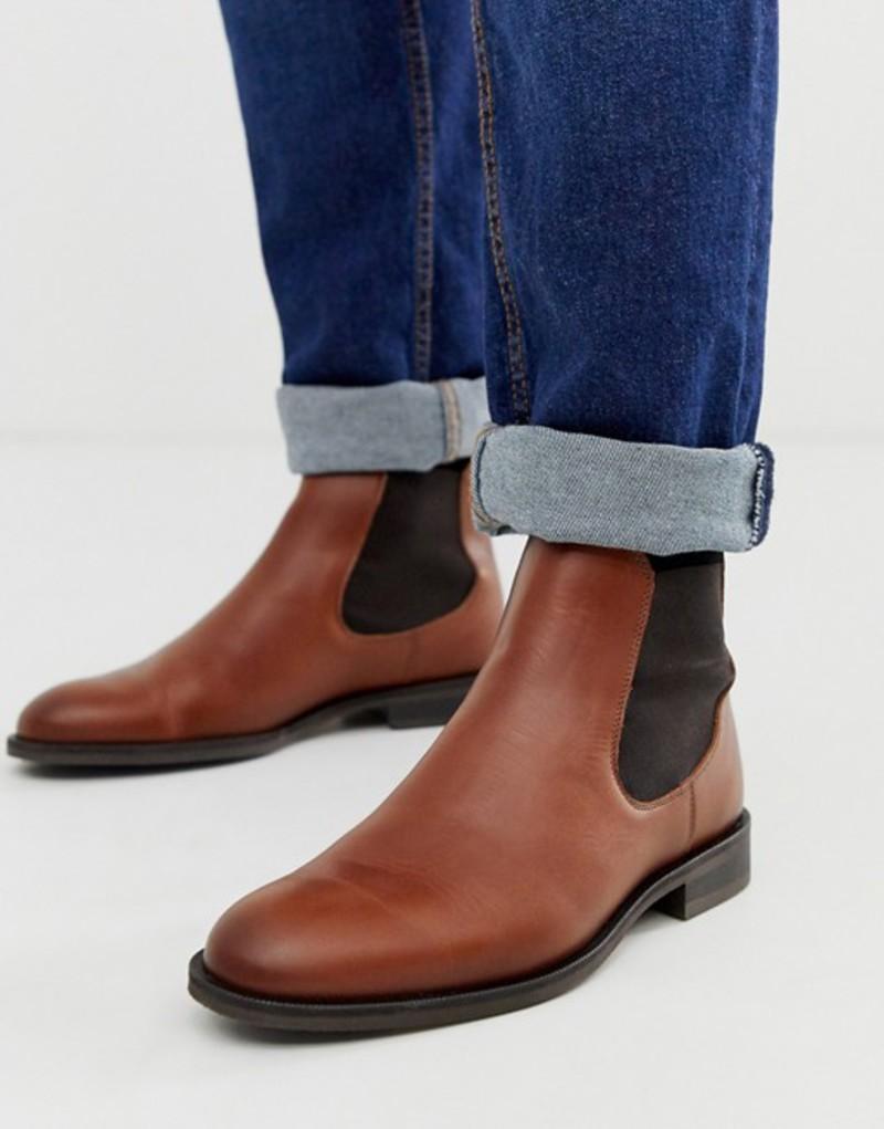 セレクテッドオム メンズ ブーツ・レインブーツ シューズ Selected Homme leather chelsea boots in tan Cognac