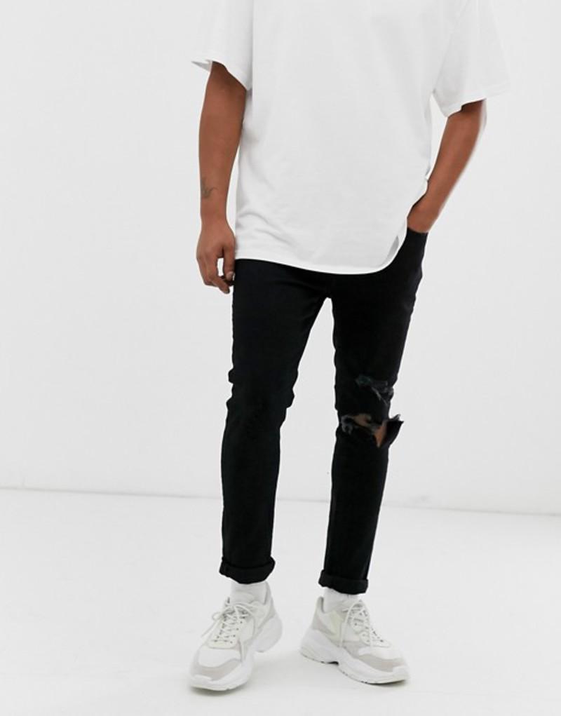 メニス メンズ デニムパンツ ボトムス Mennace skinny rip jeans in black Black