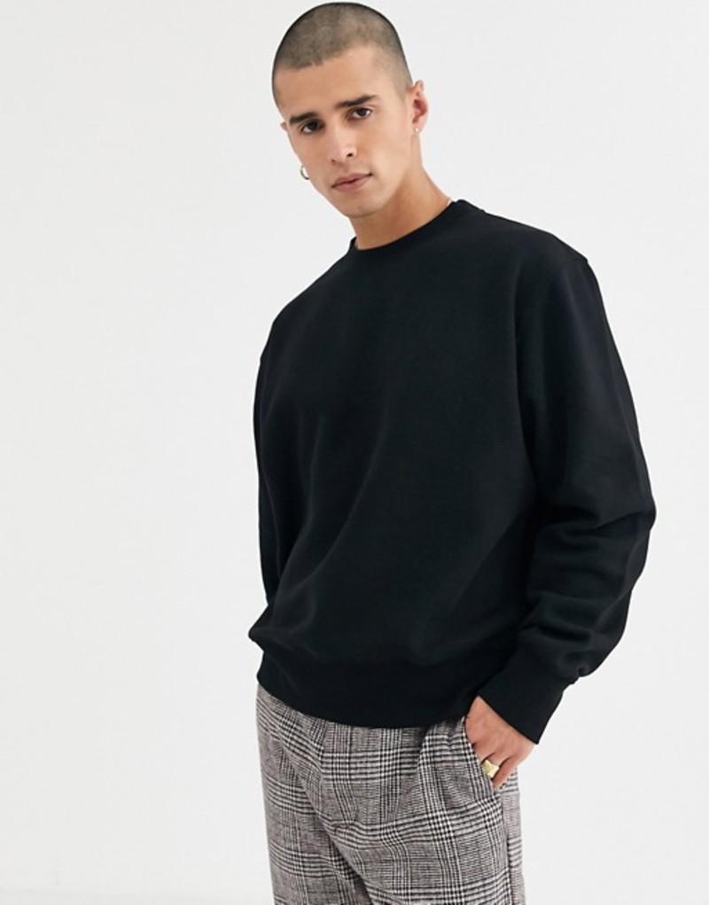 ウィークデイ メンズ パーカー・スウェット アウター Weekday oversized Albin sweatshirt in black Black