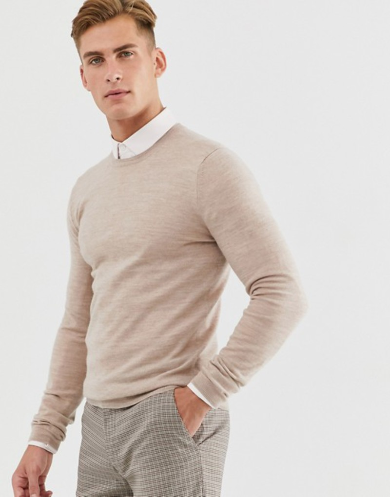 エイソス メンズ ニット・セーター アウター ASOS DESIGN muscle fit merino wool sweater in oatmeal Oatmeal
