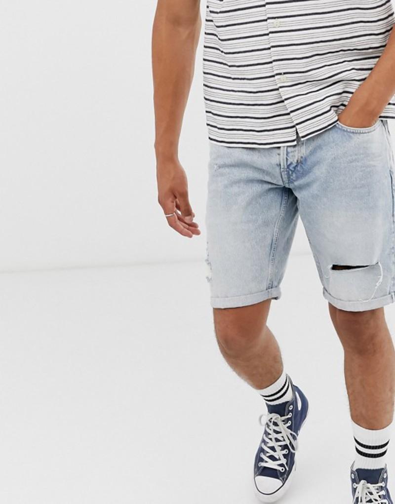 オールセインツ メンズ ハーフパンツ・ショーツ ボトムス AllSaints slim fit denim shorts in lightwash Blue