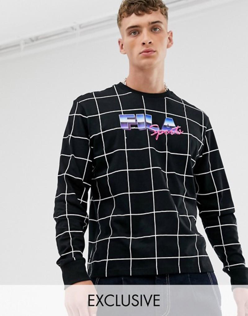 フィラ メンズ Tシャツ トップス Fila Raygon long sleeve grid top in black exclusive at ASOS Black