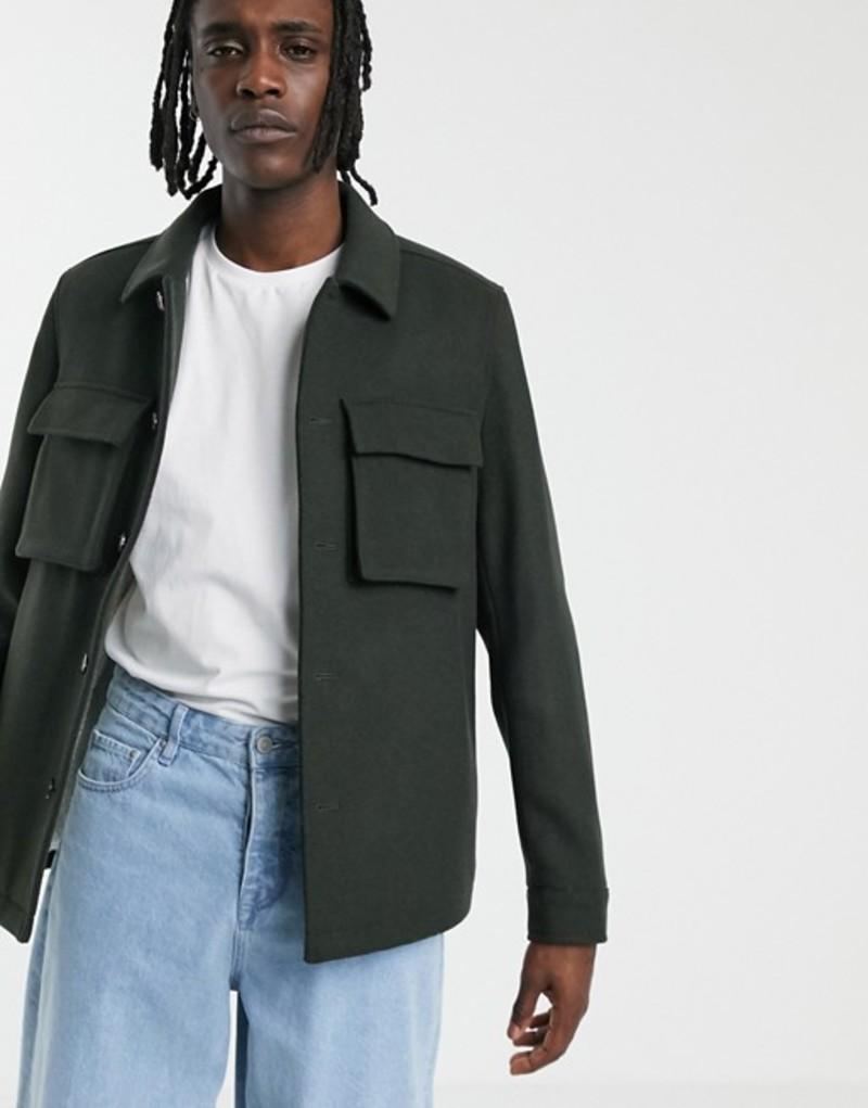 エイソス メンズ ジャケット・ブルゾン アウター ASOS DESIGN fleece lined wool mix jacket in khaki Khaki