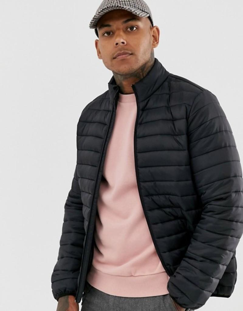 エイソス メンズ ジャケット・ブルゾン アウター ASOS DESIGN quilted jacket with stand collar in black Black