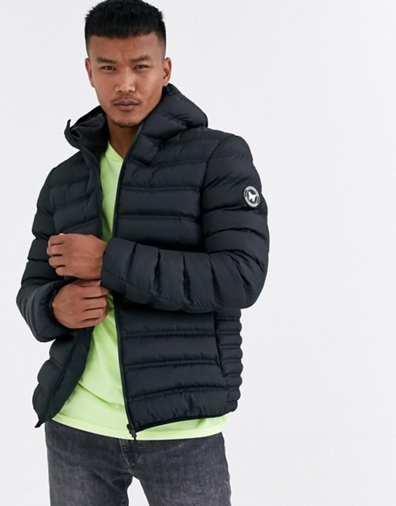 グッドフォーナッシング メンズ ジャケット・ブルゾン アウター Good For Nothing hooded puffer jacket in black Black