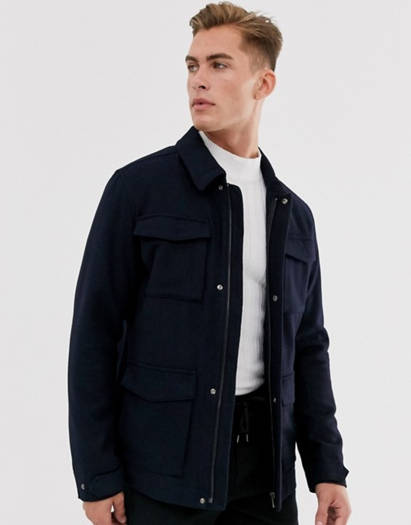 セレクテッドオム メンズ ジャケット・ブルゾン アウター Selected Homme wool field jacket with patch pockets Dark navy