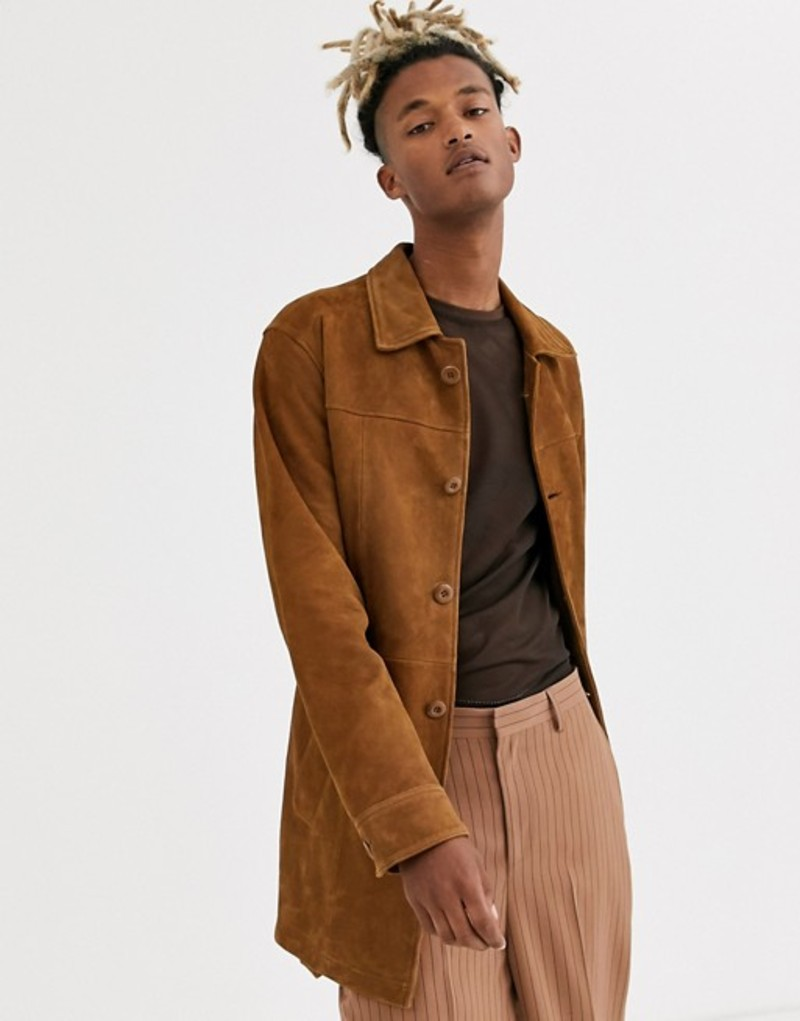 エイソス メンズ ジャケット・ブルゾン アウター ASOS DESIGN suede single breasted trench coat in tan Tan