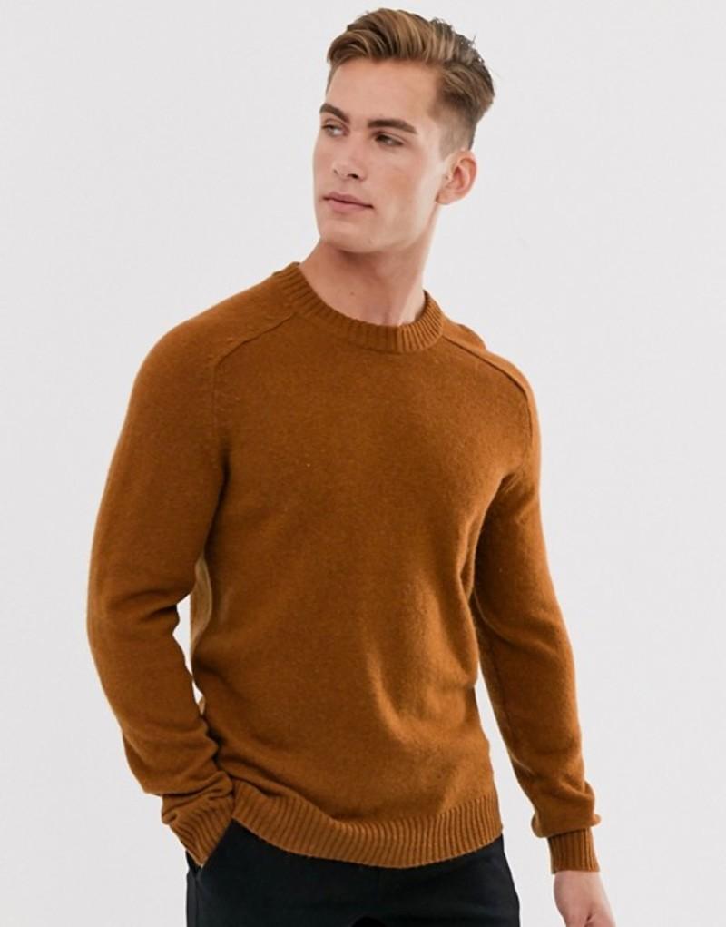 セレクテッドオム メンズ ニット・セーター アウター Selected Homme wool crew neck sweater in burnt orange Caramel cafe