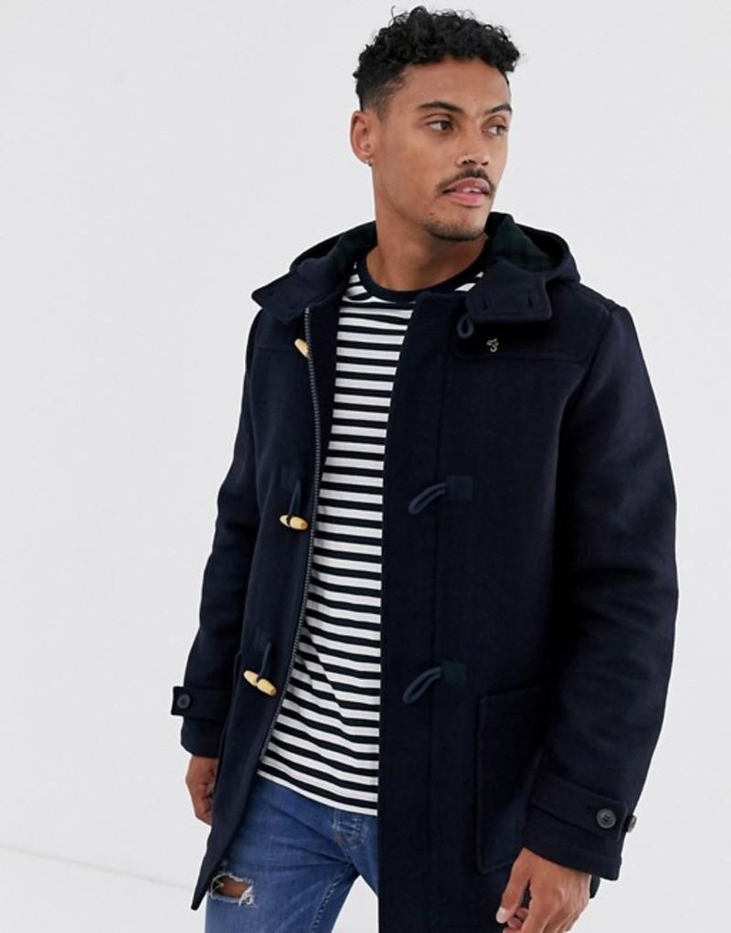 ファーラー メンズ コート アウター Farah Poppleton wool duffle coat in navy Navy