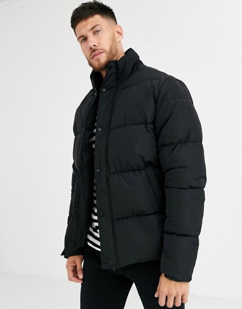 エイソス メンズ ジャケット・ブルゾン アウター ASOS DESIGN sustainable puffer jacket in black with funnel neck Black