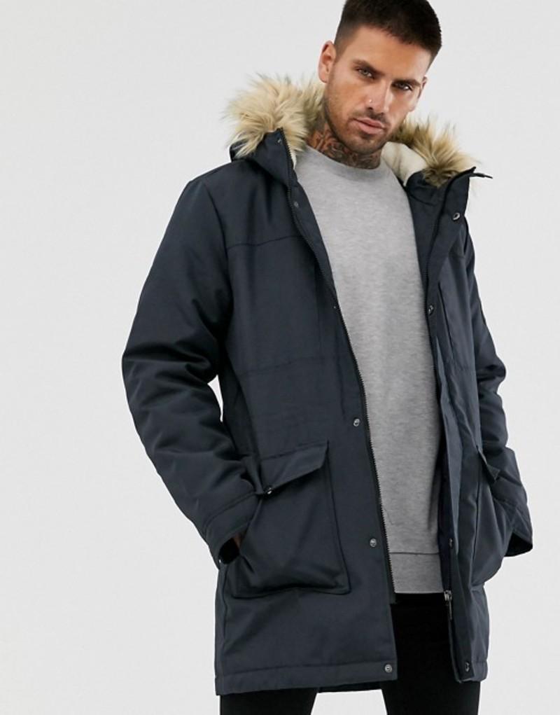 オンリーアンドサンズ メンズ コート アウター Only & Sons parka with fleece lined hood and removable faux fur Dark navy