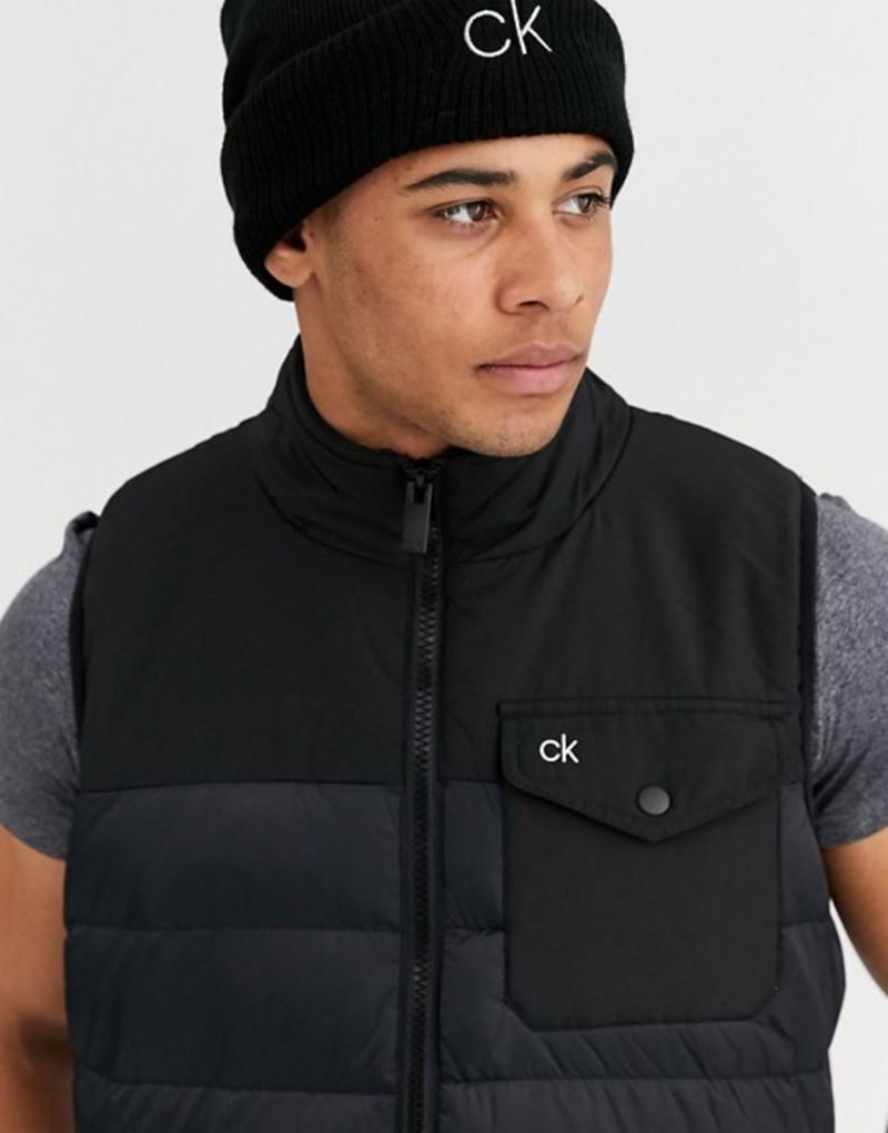 カルバンクラインゴルフ メンズ タンクトップ トップス Calvin Klein Golf portside vest in black Black
