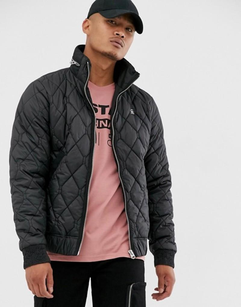 ジースター メンズ ジャケット・ブルゾン アウター G-Star Meefic quilted jacket with zip detail collar in black Black