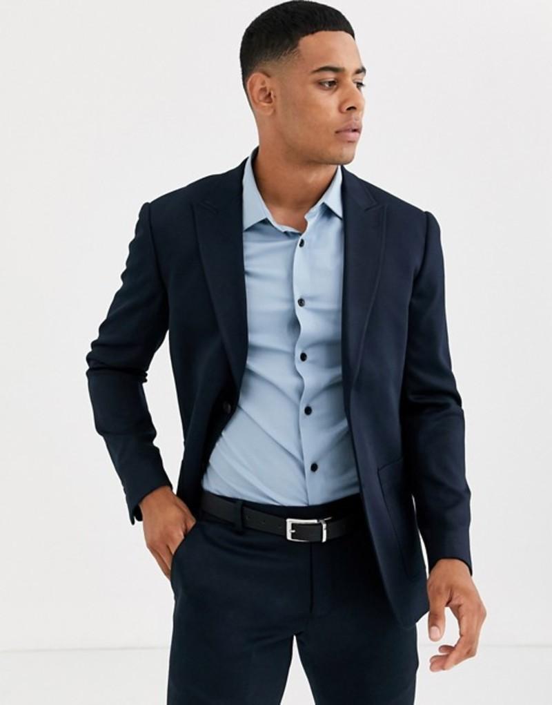 オンリーアンドサンズ メンズ ジャケット・ブルゾン アウター Only & Sons slim fit deconstructed patch pocket jacket in navy Dark navy