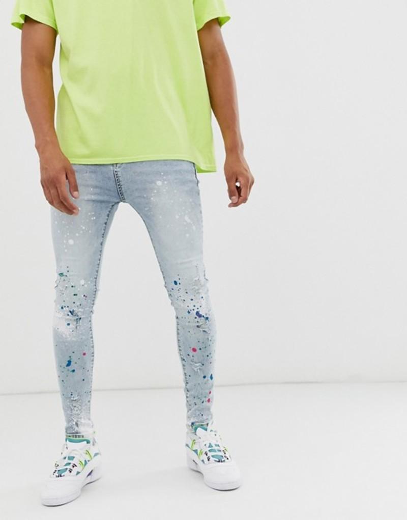 グッドフォーナッシング メンズ デニムパンツ ボトムス Good For Nothing skinny jeans in light blue with paint splat Blue