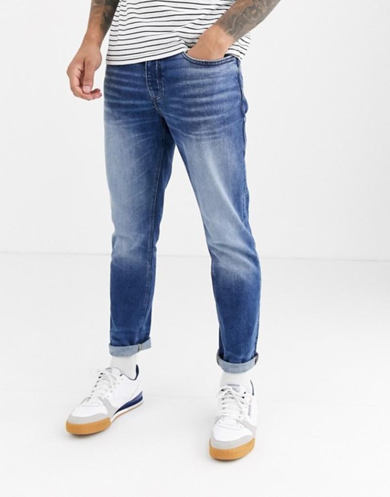 リバーアイランド メンズ デニムパンツ ボトムス River Island slim jeans in mid wash blue Mid blue