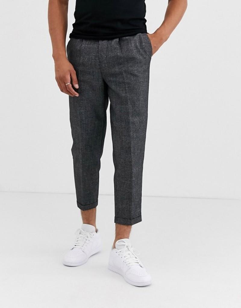 ニュールック メンズ カジュアルパンツ ボトムス New Look pleat front smart pants in gray Dark grey