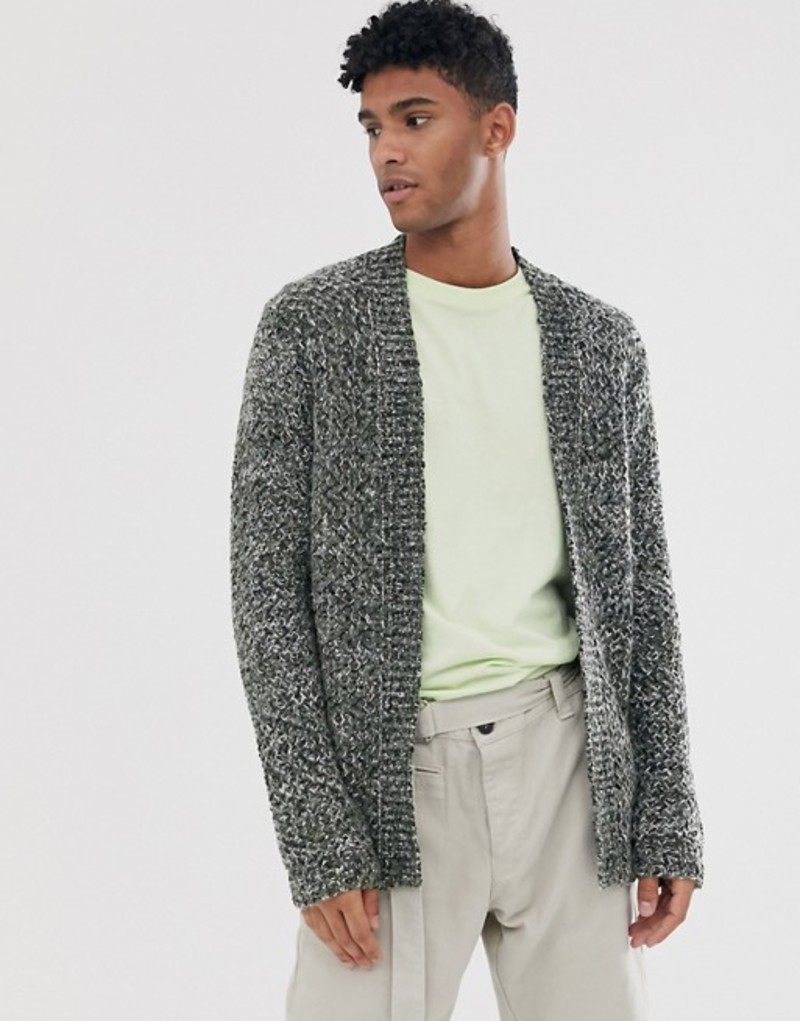 エイソス メンズ カーディガン アウター ASOS DESIGN heavyweight cardigan in textured khaki slub yarn Khaki