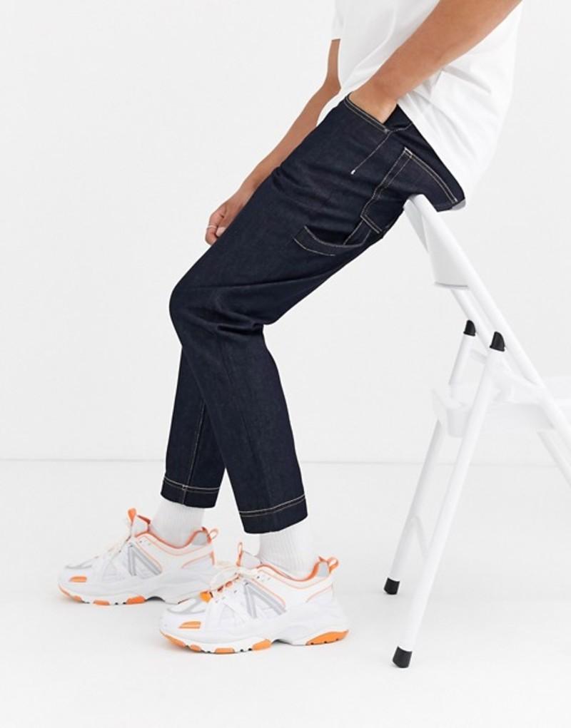 エイソス メンズ デニムパンツ ボトムス ASOS DESIGN tapered carpenter jeans in indigo with contrast stitch Indigo