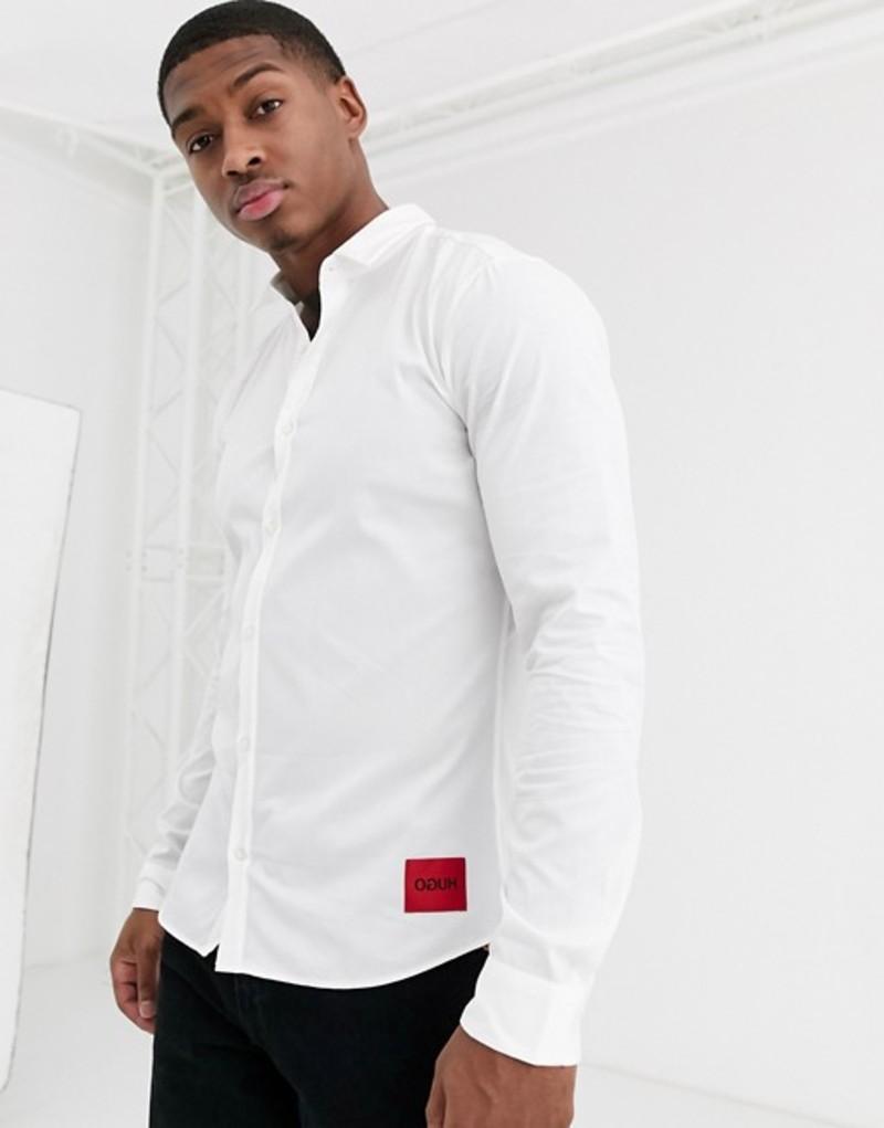 フューゴ メンズ シャツ トップス HUGO Ero3 slim fit shirt with contrast box logo in white Open white