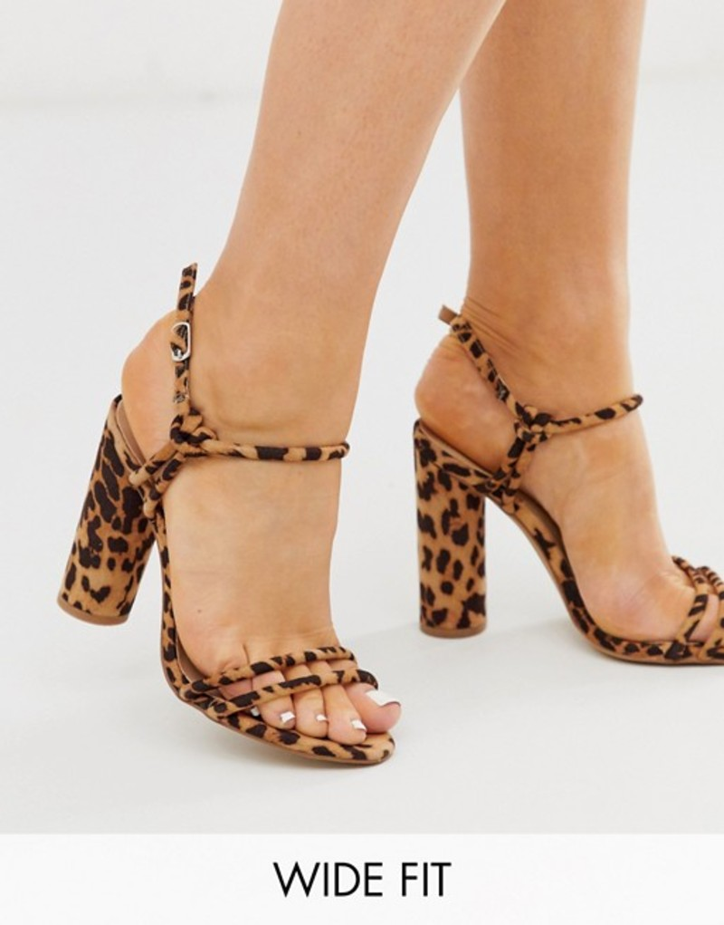 ロンドンレベル レディース サンダル シューズ London Rebel wide fit strappy block heel sandals in leopard Leopard