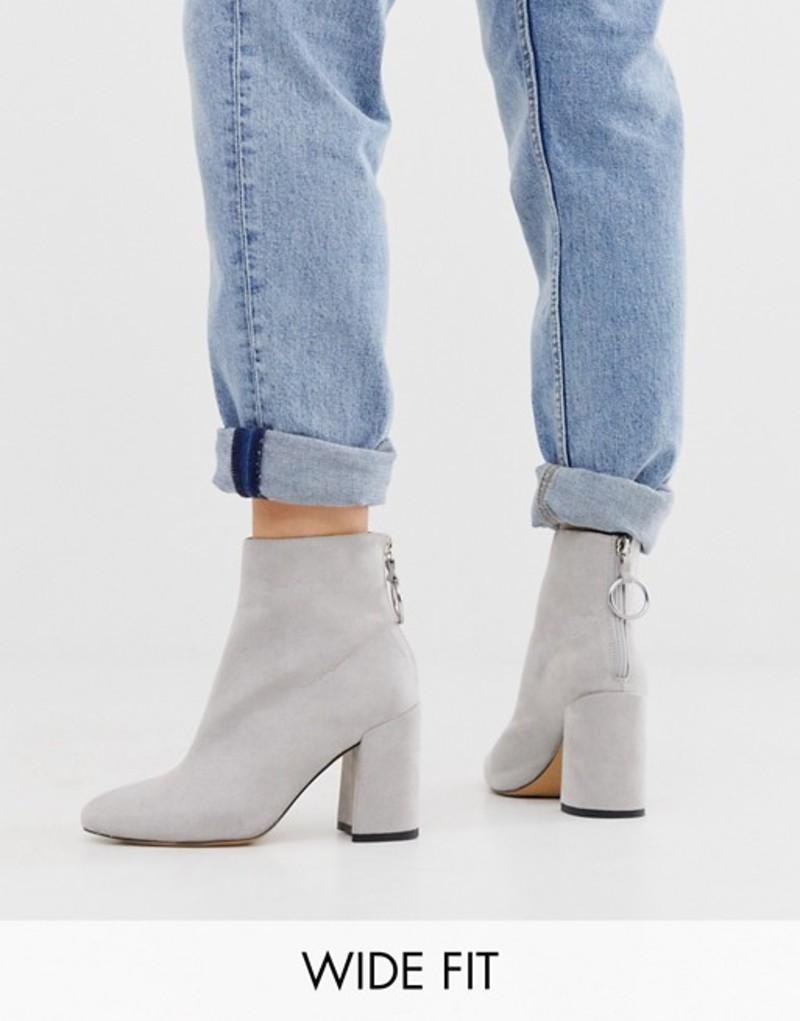 ロンドンレベル レディース ブーツ・レインブーツ シューズ London Rebel wide fit high block heel boots in gray Grey micro