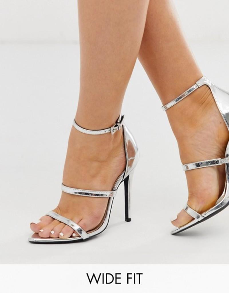 ロンドンレベル レディース サンダル シューズ London Rebel wide fit pointed strappy stiletto heeled sandals in silver Silver