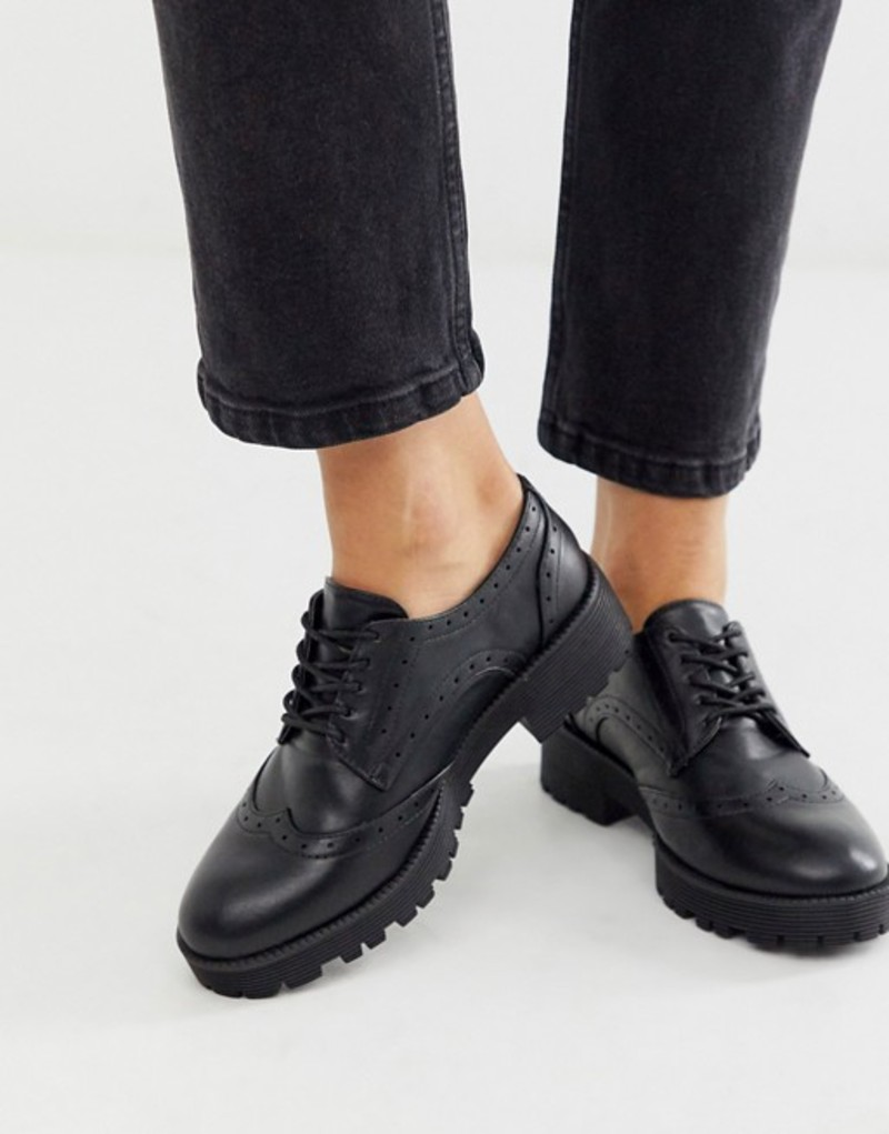 ロンドンレベル レディース スリッポン・ローファー シューズ London Rebel chunky lace up brogues in black Black