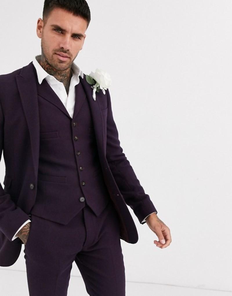 エイソス メンズ ジャケット・ブルゾン アウター ASOS DESIGN wedding super skinny suit jacket in wool mix twill in burgundy Burgundy