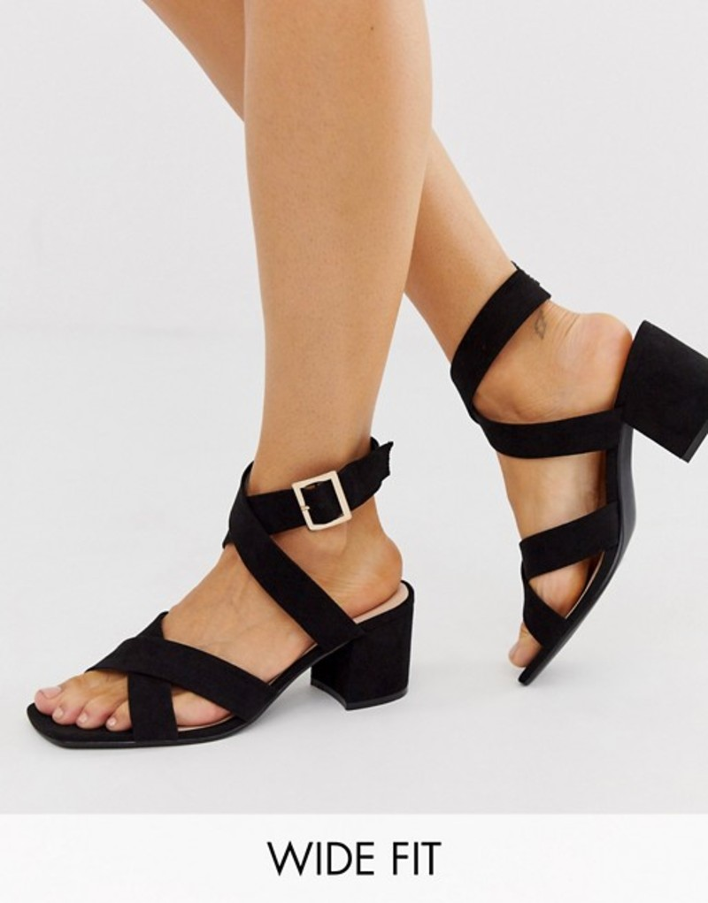 ロンドンレベル レディース サンダル シューズ London Rebel wide fit block heel sandals in black Black micro