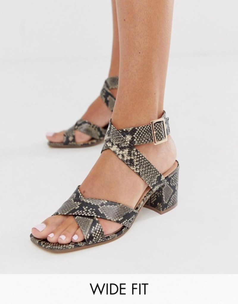 ロンドンレベル レディース サンダル シューズ London Rebel wide fit block heel sandals in snake Natural snake