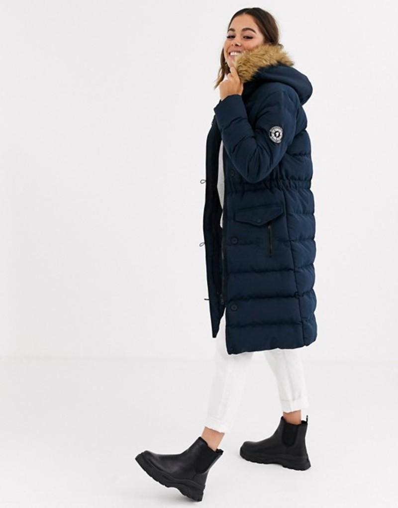 ブレーブソウル レディース ジャケット・ブルゾン アウター Brave Soul whitehorse padded long jacket with faux fur trim hood Navy