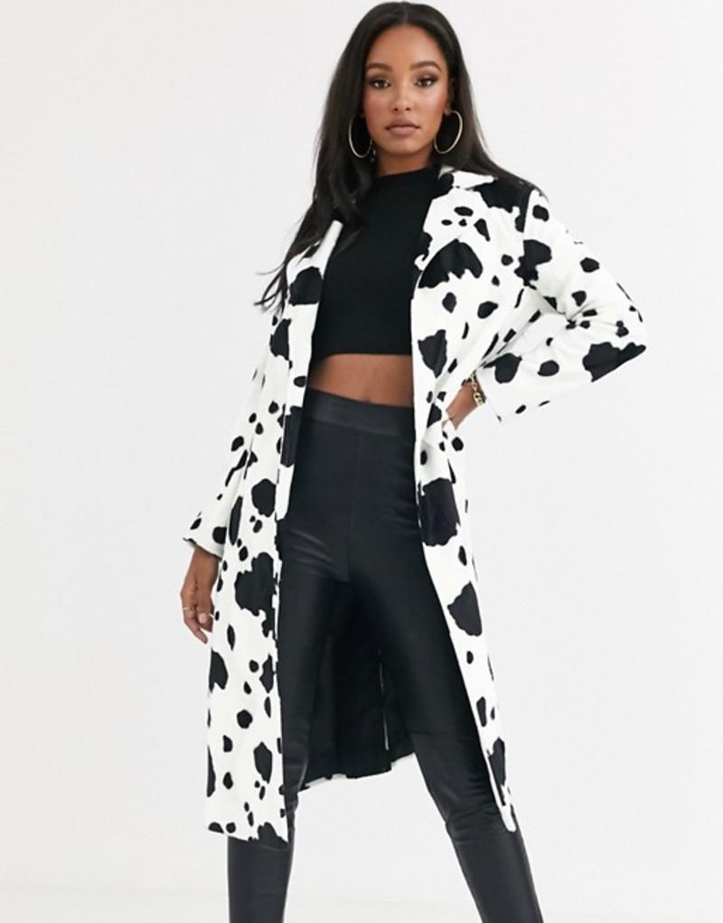 ヘレンベーマン レディース コート アウター Helene Berman Ruth faux cow skin long coat Cow skin