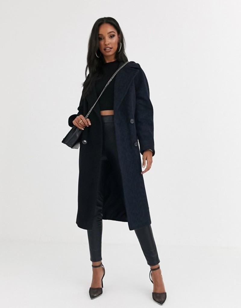 ヘレンベーマン レディース コート アウター Helene Berman double breasted contrast animal print coat in wool blend Navy/ black