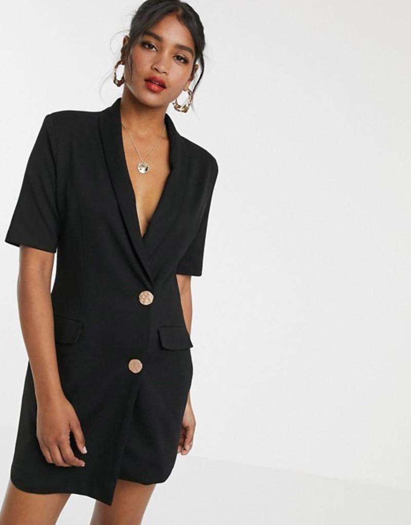 ユニークトゥエンティワン レディース ワンピース トップス Unique21 tuxedo gold button dress Black