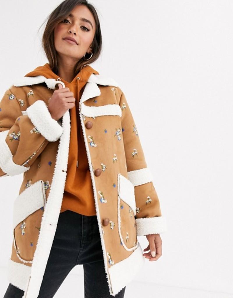 エイソス レディース ジャケット・ブルゾン アウター ASOS DESIGN suedette jacket with floral embroidery Tan
