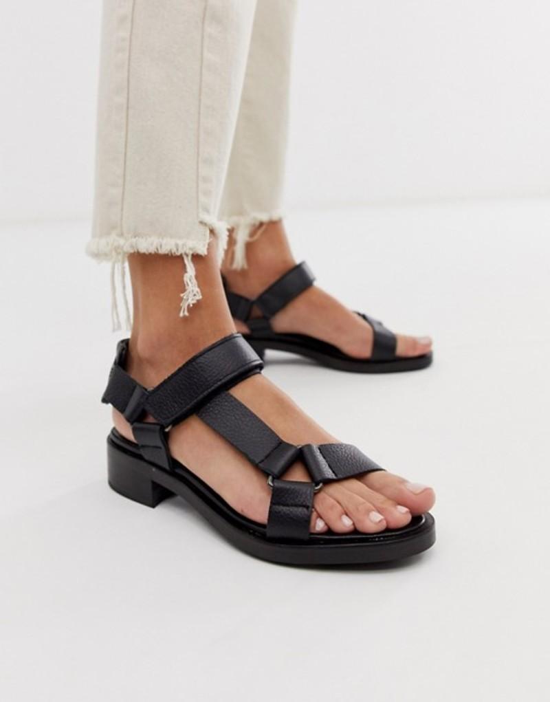 エイソス レディース サンダル シューズ ASOS WHITE Bluebell leather sporty sandals in black Black