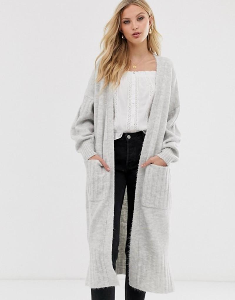 エイソス レディース カーディガン アウター ASOS DESIGN maxi cardigan in fluffy yarn Grey