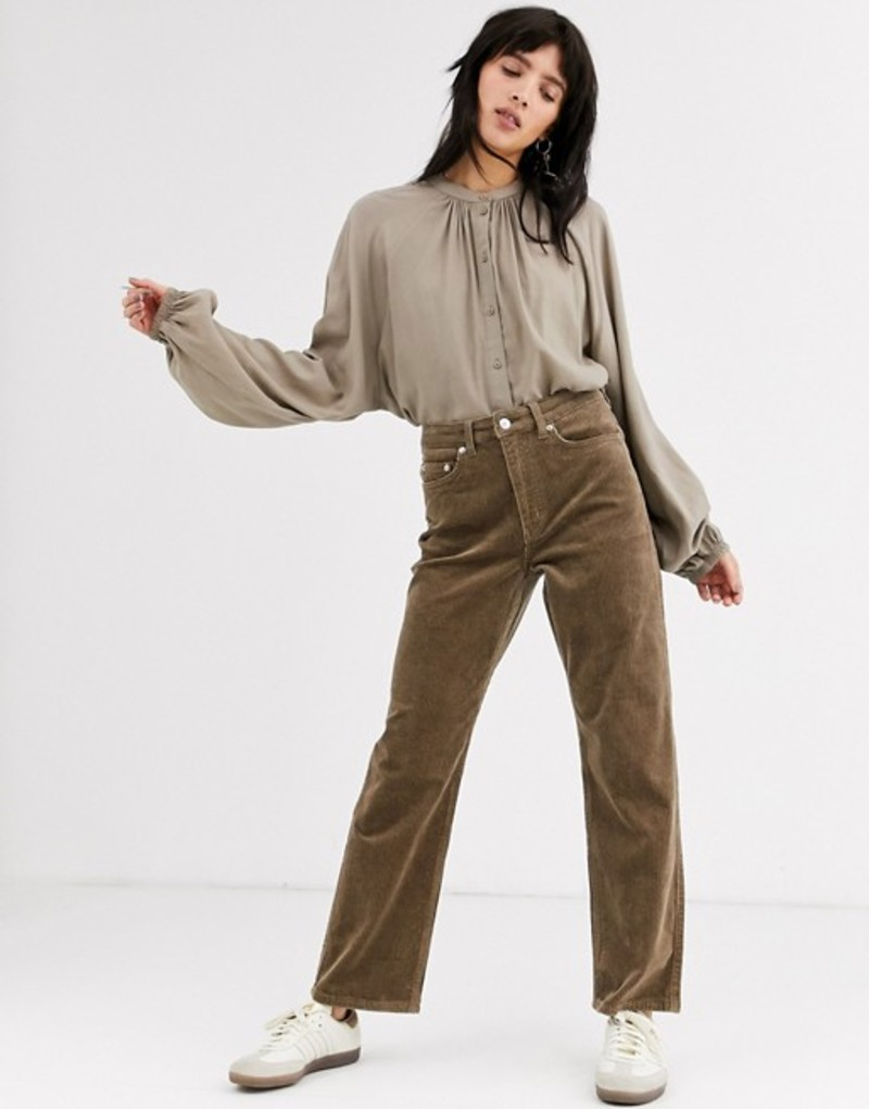 ウィークデイ レディース カジュアルパンツ ボトムス Weekday Row corduroy pants in mole gray Mole