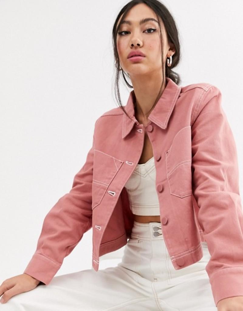 モンキ レディース ジャケット・ブルゾン アウター Monki utility button up jacket in pink Pink