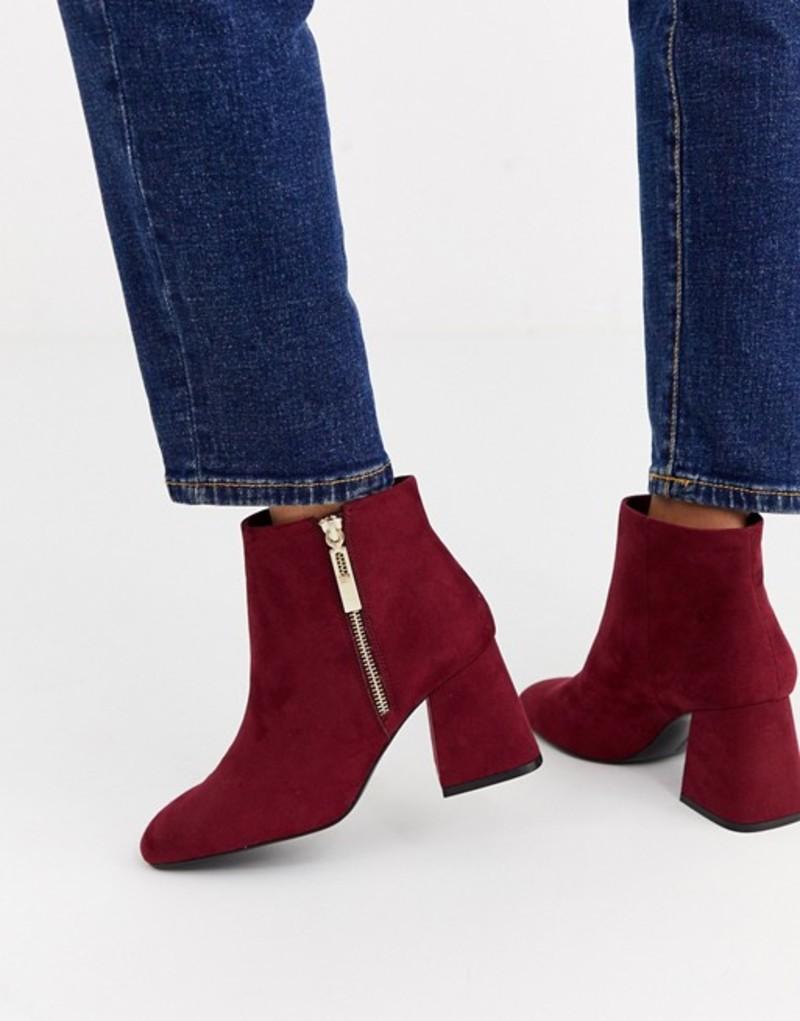 ストラディバリウス レディース ブーツ・レインブーツ シューズ Stradivarius zip side heeled boot in burgundy Burgundy