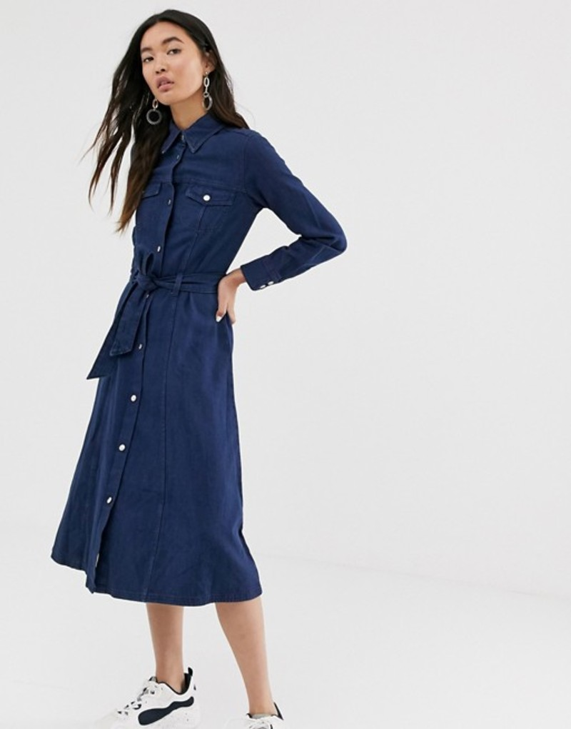 モンキ レディース ワンピース トップス Monki denim midi dress with organic cotton and tie waist in dark blue Navy