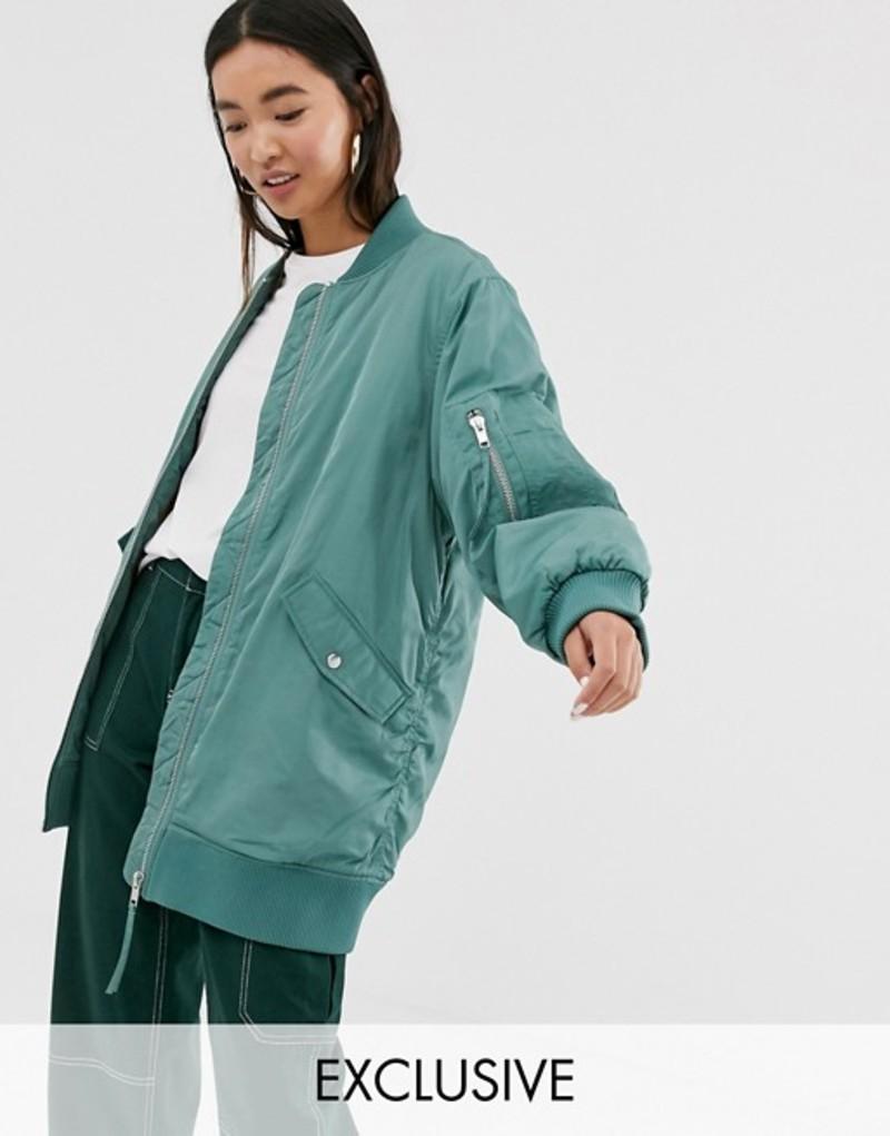 モンキ レディース ジャケット・ブルゾン アウター Monki longline bomber jacket in green Green