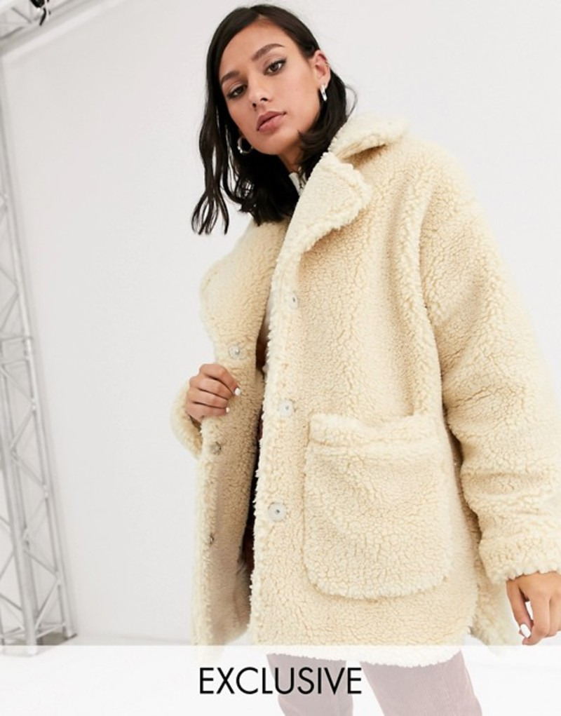 モンキ レディース ジャケット・ブルゾン アウター Monki longline teddy jacket with oversized pockets in beige Beige