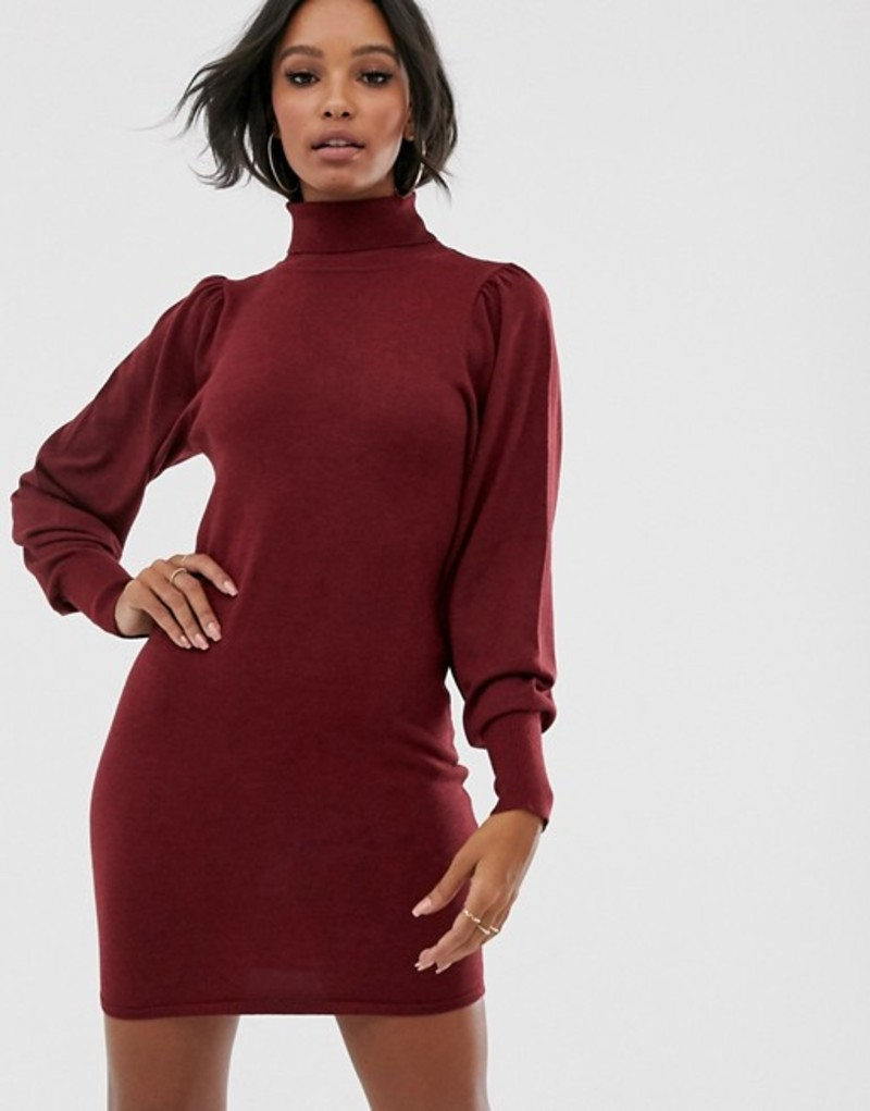 エイソス レディース ワンピース トップス ASOS DESIGN roll neck mini dress with statement sleeve in recycled blend Dark red